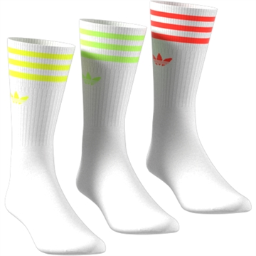 Adidas Solid Crew Socks 3 Pack Neon