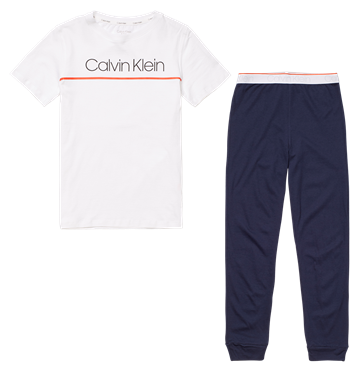 Calvin Klein Knit PJ Set White/Blueshadow