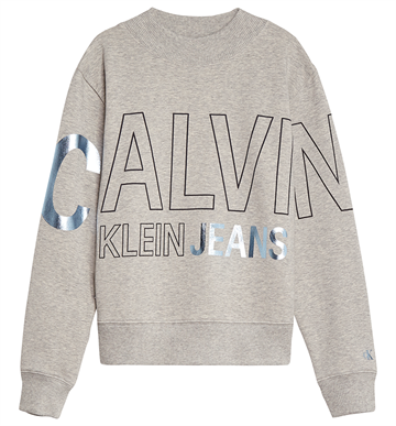 Calvin Klein Girls Logo Foil Boxy Fit Sweat Light Grey Heather