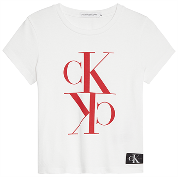 Calvin Klein Girls Monogram Cropped s/s Tee Bright White