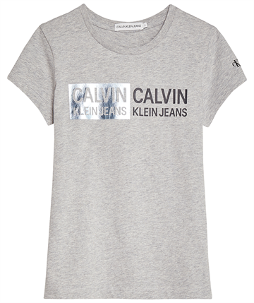 Calvin Klein Girls Stamp Logo Slim Fit s/s Tee Light Grey Heather