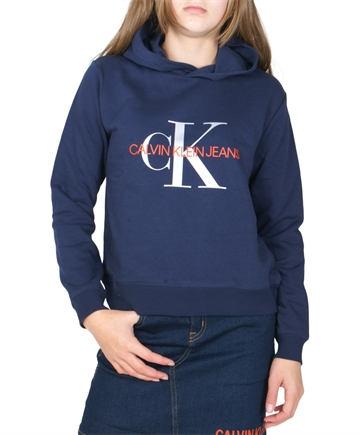 Calvin Klein Girls Sweat Hoodie Monogram Logo Peacoat G00054