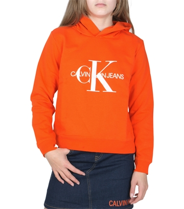 Calvin Klein Girls Sweat Hoodie Monogram Logo Orange.Com G00054