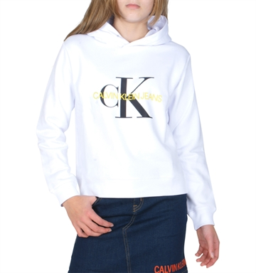 Calvin Klein Girls Sweat Hoodie Monogram Logo White G00054