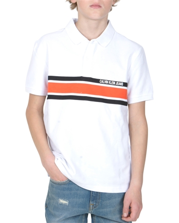 Calvin Klein Polo Chest Stripe Bright White 00051