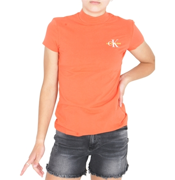 Calvin Klein Girls T-shirt Mock hot coral