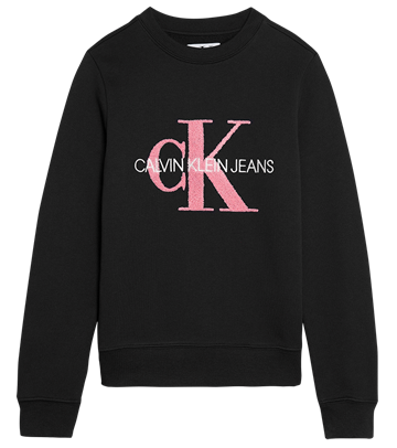 Calvin Klein Girls Sweatshirt Terry Monogram Logo Black 00178