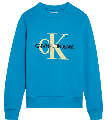 Calvin Klein Girls Sweatshirt Terry Monogram Logo Enamel Blue 00178