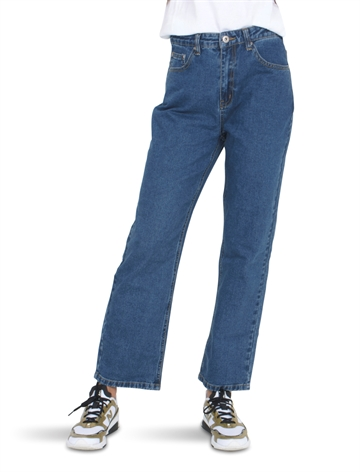 Grunt Girls Mom Straight Leg Croped Jeans Standard Blue