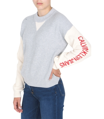 Calvin Klein Girls Colour Block Logo Sweater Light Grey Heather