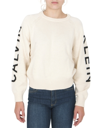Calvin Klein Girls Logo Raglan Sweater Whitecap Grey