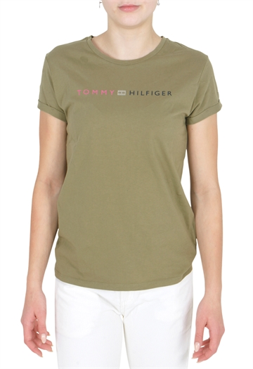 Tommy Hilfiger Girls Essential Roll Up Tee Martini Olive