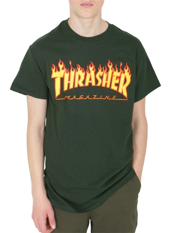 Thrasher T-shirt s/s Flame Logo Forest Green