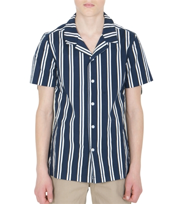 Grunt Boys Skjorte Griffin s/s Blue Stripe