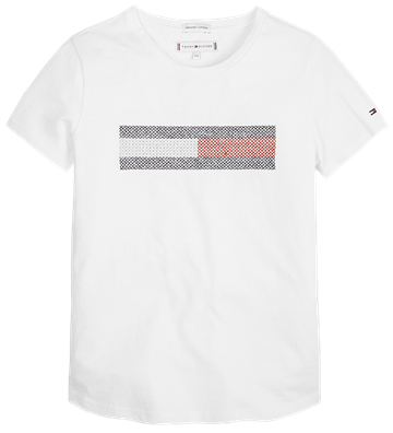 Hilfiger Girls Tee Lurex Flag Bright white 04468