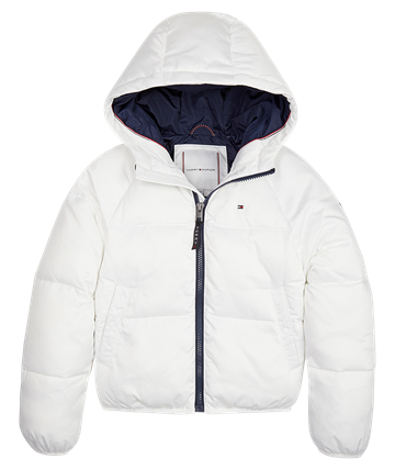 Hilfiger Girls Puffer Jakke Recycled Bright White 04483