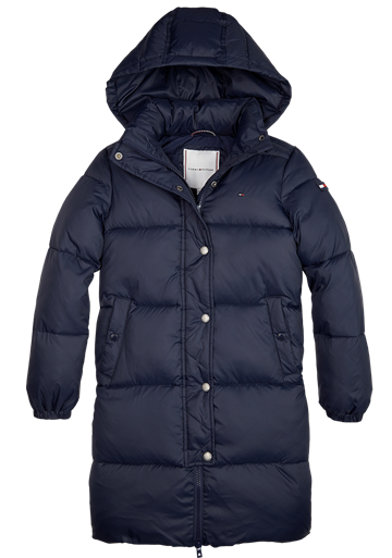 Hilfiger Girls Long Puffer Jakke Recycled Bl. Iris 04485