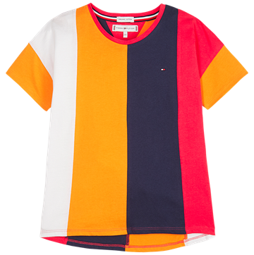 Hilfiger Girls Tee s/s Color Block Panel Multi 04669