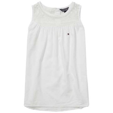 Hilfiger Girls Top Cotton Crepe Bright White