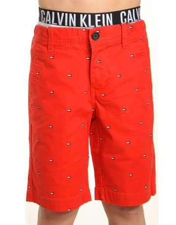 Tommy Hilfiger Chino Shorts Flag Print Mars Red