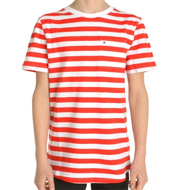 Hilfiger Boys Polo Tee AME Bright stripe Pique 03835 Red