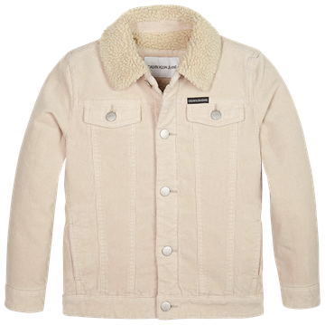 Calvin Klein Boys Corduroy Teddy Lined Jacket Whitecap Grey