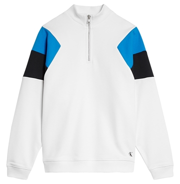 Calvin Klein Boys Color Block Zip Mock 0463 Bright White