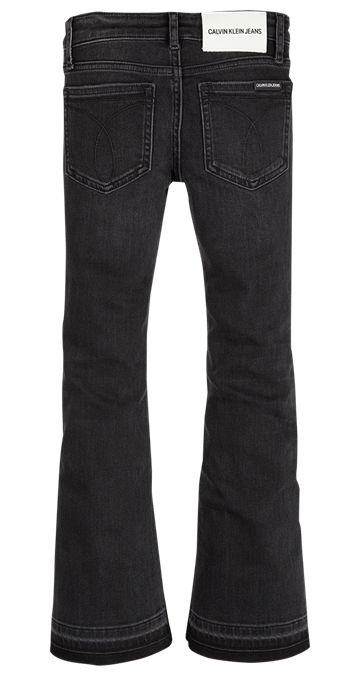 Calvin Klein Girls Flare Jeans Worn Black Destructed Stretch