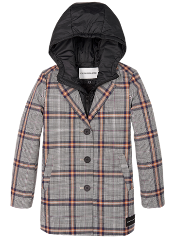 Calvin Klein Girls Tailored Coat Natural Check