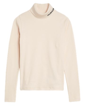 Calvin Klein Girls Rib Mock Neck Whitecap Grey