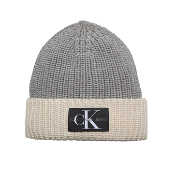 Calvin Klein Hue Monogram Knitted Beanie Light Grey Heather