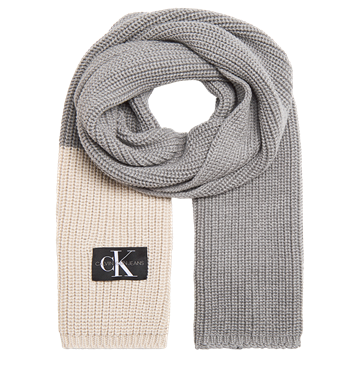 Calvin Klein Monogram Knitted Scarf Light Grey Heather