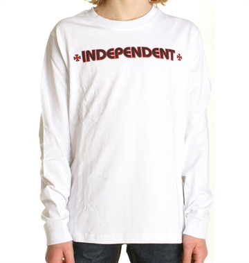 Independent T-shirt Adult l/s Chest Bar Cross White