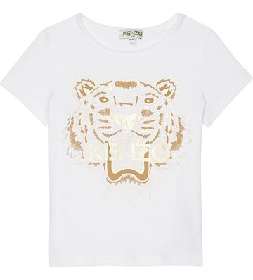 Kenzo T-shirt White Tiger 10148 gold metalic print