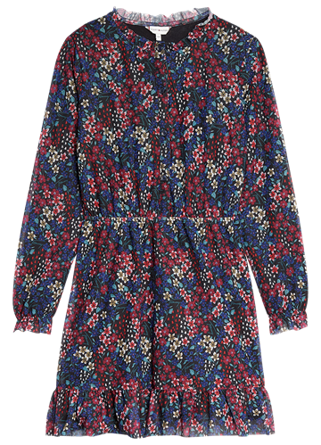 Tommy Hilfiger Girls Floral AOP Dress Black Iris/Multi