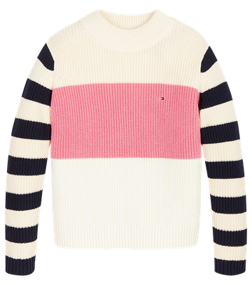 Tommy Hilfiger Girls Chunky Stripe Sweater Eggnog/Marshmellow/Cashmere Rose