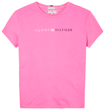Tommy Hilfiger Girls Essential Roll Up Tee Pink Glo