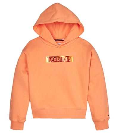 Tommy Hilfiger Sweat Hoodie Girls Foil Label Melon Orange