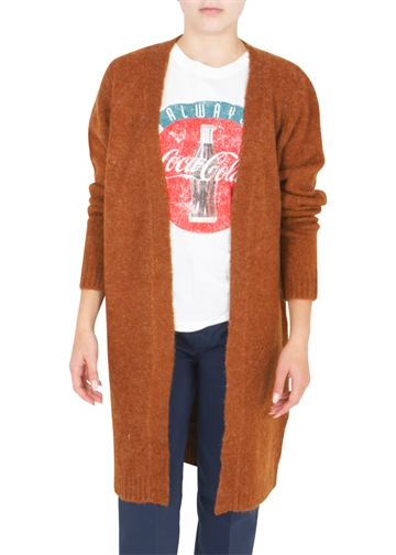 LMTD Odette Long Knit Cardigan Caramel Cafe