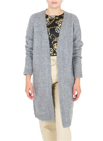 LMTD Odette Long Knit Cardigan Grey Melange