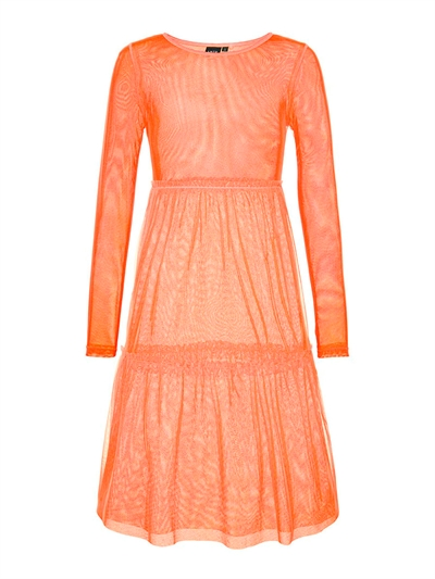LMTD Girls Kjole Harissa Fiery Coral Transparent
