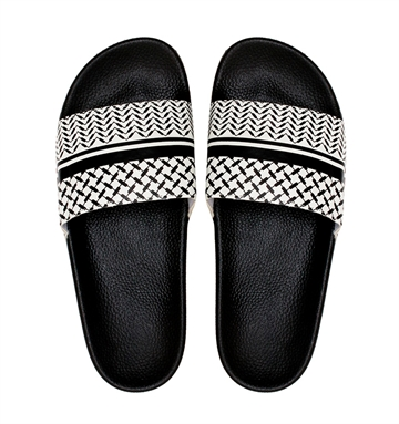 Lala Berlin Beach Slippers Ariella Black White Kufiya stripe