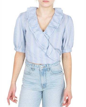 Les Coyotes de Paris Bluse Bruna Bright Blue White Stripe