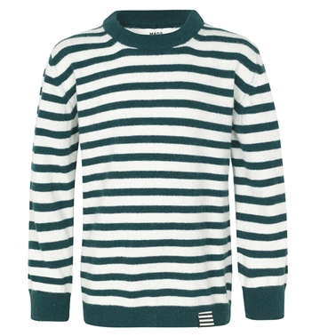 Mads Nørgaard Strik sweater Hampstead Stripe Karstino Mountain View/Ecru