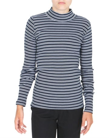 Mads Nørgaard Tee l/s 2x2 Duo Stripe Tuxi Navy/White