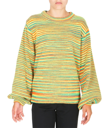 Mads Nørgaard Strik Sweater Signal Wool Kollina Multi Neon Green