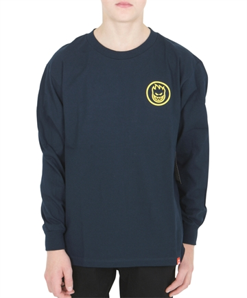 Spitfire T-shirt l/s Navy w. Yellow Swirl Backprint