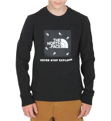 The North Face Y Box Crew Black Tossed Logo
