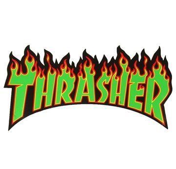 Thrasher Sticker Flame Large Green lettering