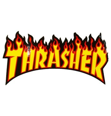Thrasher Sticker Flame Large Yellow lettering